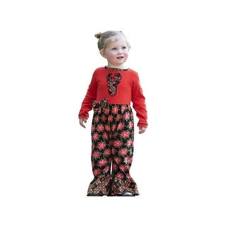 AnnLoren Baby Girls Red Reindeer Poinsettia Plaid Christmas Romper