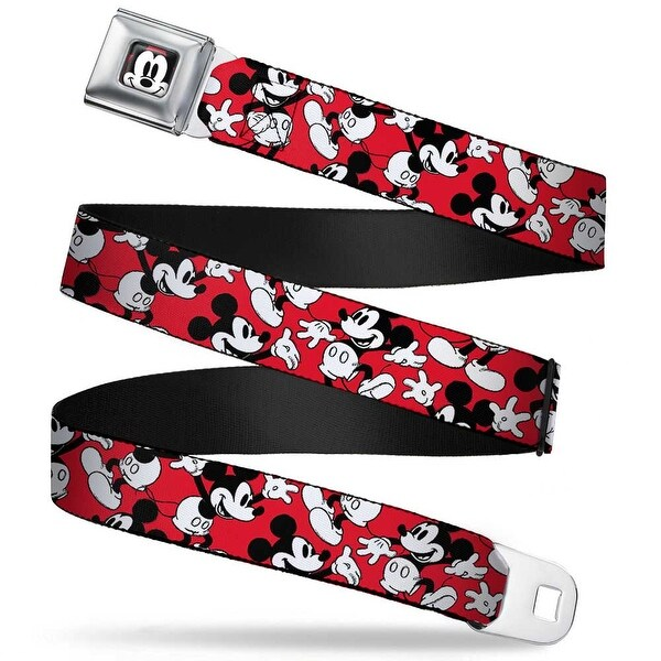 Mickey Mouse Face2 Close Up Full Color Red Black White Mickey Mouse Poses Seatbelt Belt