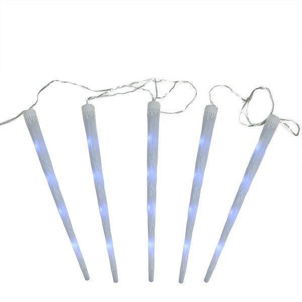 """Set of 5 Multi-Color Dripping Frosted Icicle Snowfall Christmas Light Tubes 19.75"""" - CLEAR"""
