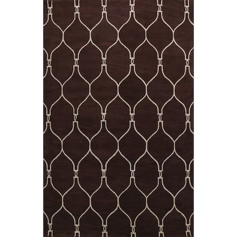 """Contemporary Brown Trellis Oriental Area Rug Hand-tufted Wool Carpet - 9'0"""" x 12'0"""""""