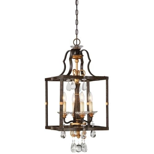 """Metropolitan N6463-652 4 Light 14"""" Wide Pendant with Crystal Accents from the Chateau Nobles Collection"""