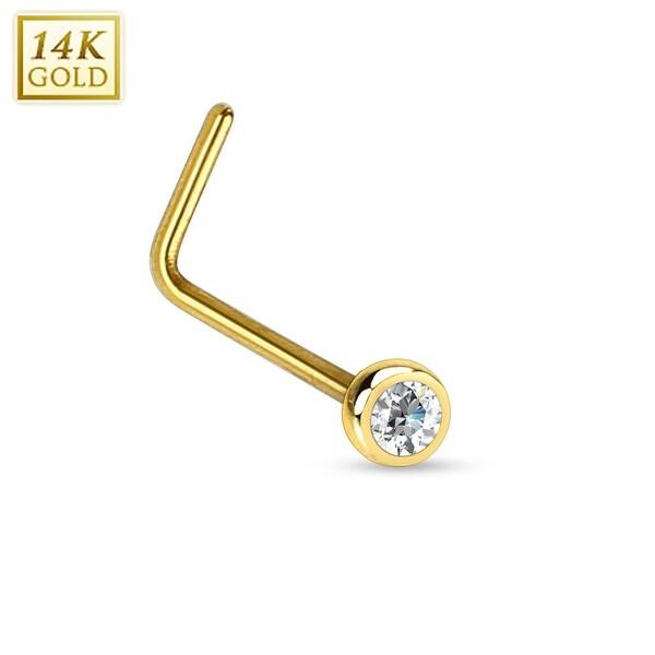 """14Kt Gold Bezel CZ Ball L Bend Nose Ring - 20GA - 1/4"""" Length (Sold Ind.)"""