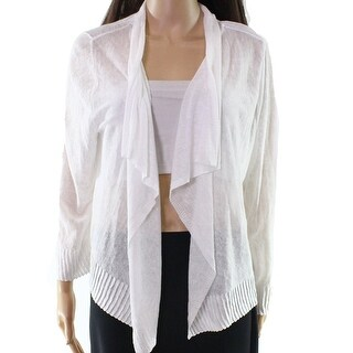 INC NEW White Draped Knit Linen Women's Size Large L Cardigan Sweater