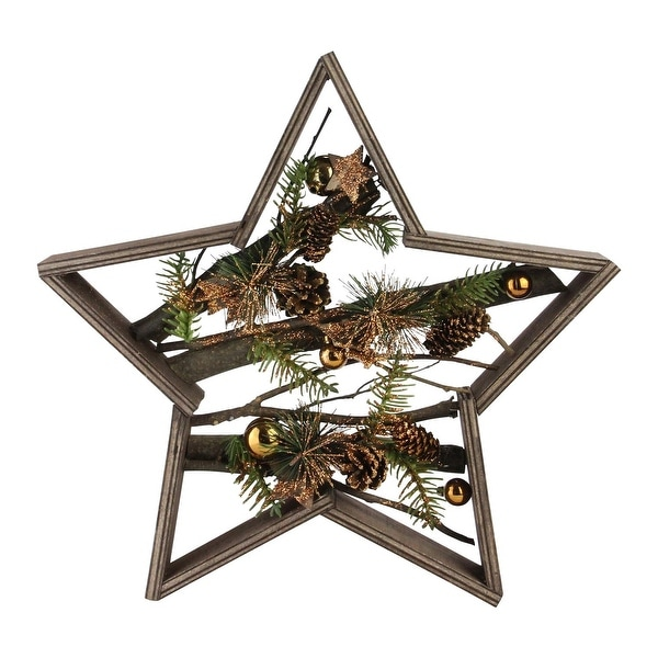 """15.25"""" Mixed Branches in Star Wood Frame Table or Wall Decoration - GOLD"""