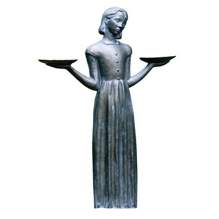 Outdoor Garden Sculpture - Savannah's Bird Girl 24-inch Statue Without Pedestal - 15 in.