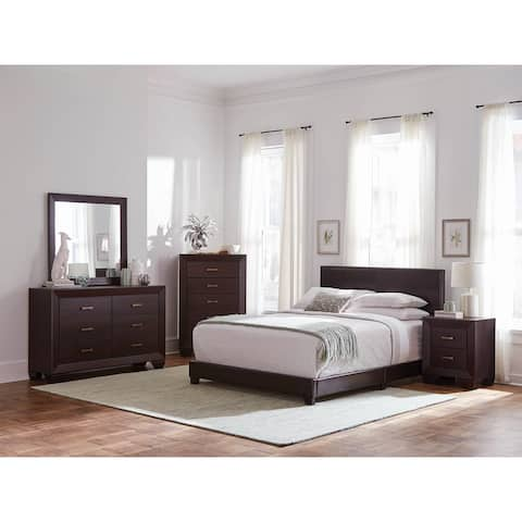 Warwick Brown and Dark Cocoa 4-piece Upholstered Bedroom Set