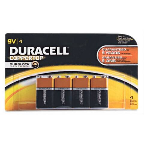 Duracell MN16B4DW Coppertop Alkaline Battery, 9 Volt, 4-Pack
