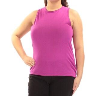 Womens Pink Sleeveless Jewel Neck Sweater Size XL