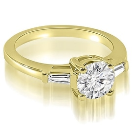 1.00 cttw. 14K Yellow Gold Round Baguette Three Stone Diamond Engagement Ring