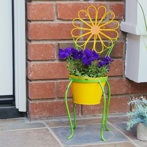 Alpine 24-Inch Yellow Daisy Flower Planter with Stand