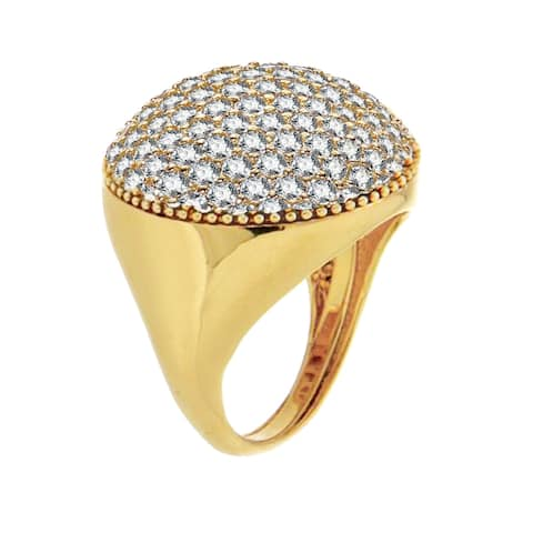 Forever Last 18 k yellow Gold Overlay Round Dome Ring W/ White Cubics