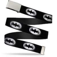 Blank Chrome Bo Buckle Cloudy Bat Signal Black White Webbing Web Belt