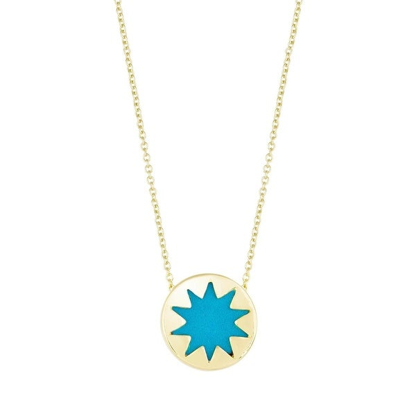 House of Harlow by Nicole Richie Womens Mini Sunburst Pendant Necklace Cut Out - Teal/Gold