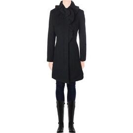 Elie Tahari Womens Sara Wool Ruffled Coat