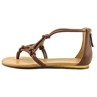 J Slides Womens belle Leather Split Toe Casual Strappy Sandals Tan Size 60