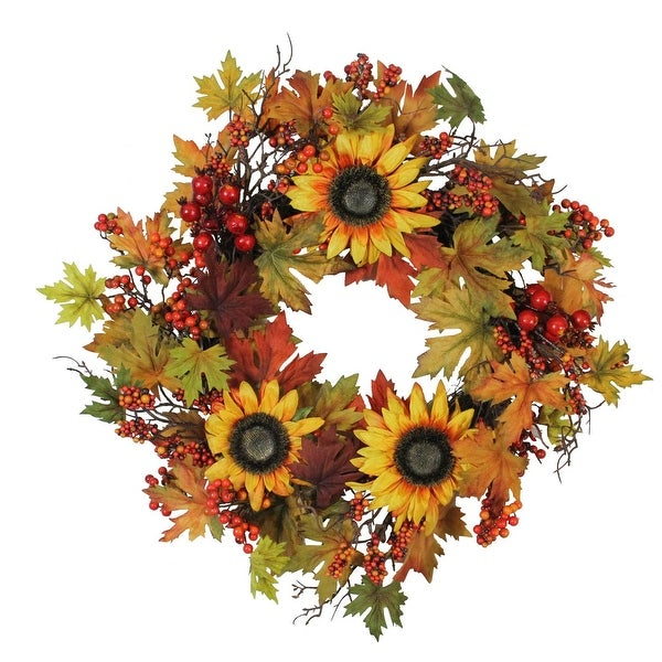 "24"" Artificial Fall Leaf, Berry and Sunflower Decorative Wreath"