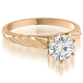 0.50 cttw. 14K Rose Gold Twist Style 6-Prong Solitaire Diamond Engagement Ring