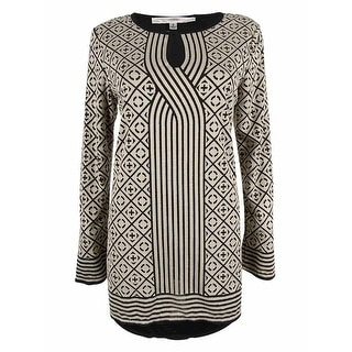 Studio M Women's Long Sleeve Geo Print Tunic Top - s