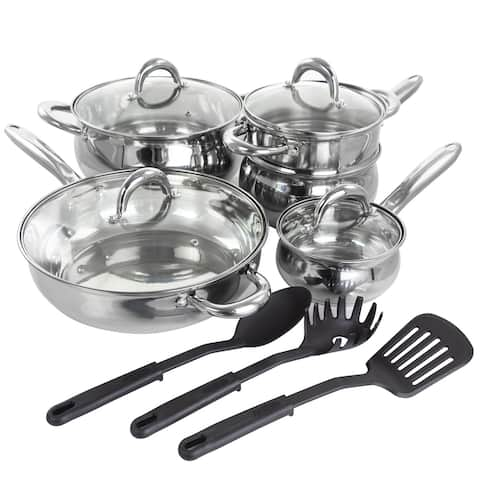 Gibson Home Ancona 12Pc SS Belly Shaped Cookware Set w/ Tools
