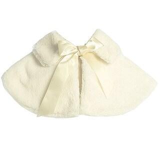 Sweet Kids Little Girls Ivory Faux Fur Satin Ribbon Collar Stylish Cape
