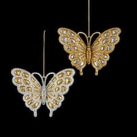 Pack of 24 Silver and Gold Glittered Butterfly Christmas Ornaments 3""