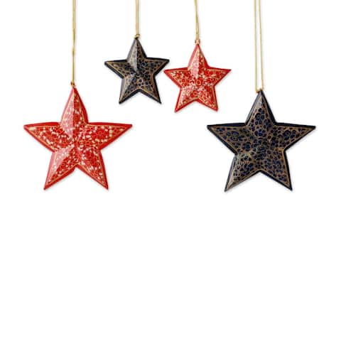 Novica Handmade Midnight Carols Wood Christmas Ornaments (Set Of 4)