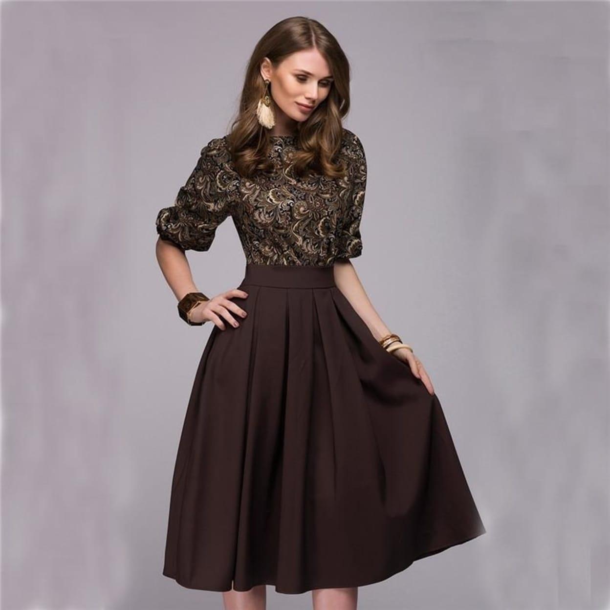 Fall Fashion Women Floral Printed Party Dresses Autumn Christmas Casual  Elegant Prom Midi Dress Plus Size