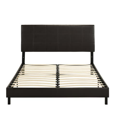 Porch & Den Curnow Faux Leather/ Solid Wood Upholstered Bed Frame