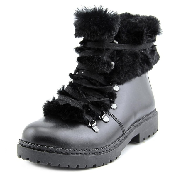 INC International Concepts Pamelia Women Round Toe Leather Black Winter Boot