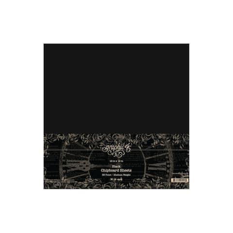 Graphic 45 Staples Chipboard Shts 12x12 Black 10pc