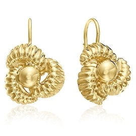MCS JEWELRY INC 10 KARAT YELLOW GOLD LEVERBACK EARRINGS WITH FLOWER DESIGN 20MM