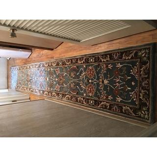 Safavieh Handmade Heritage Timeless Traditional Blue/ Brown Wool Runner (2'3 x 14')