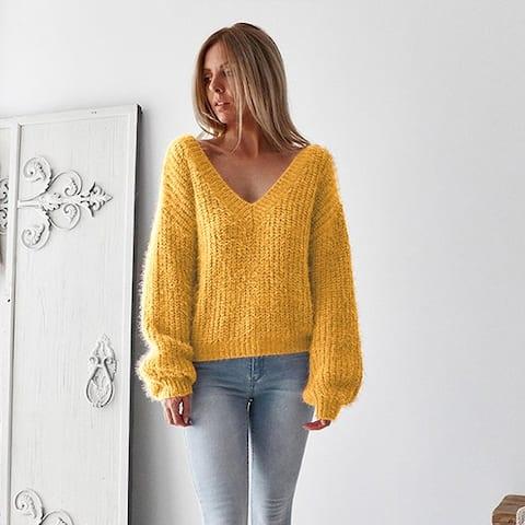 Women's Fashion Long Sleeve Loose Halter Sweater