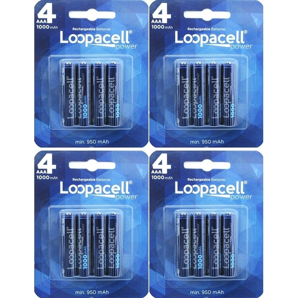 Loopacell 16 Pack AAA 1000mAh Ni-MH Rechargeable Batteries with Battery Storage