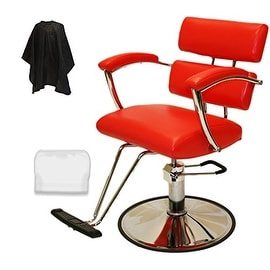 LCL Beauty Contemporary Red Hydraulic Barber Styling Chair with Padded Armrests