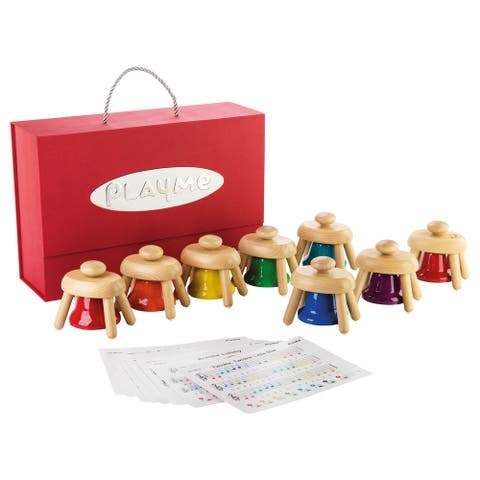 Playme Musical Pat Bells Set - Preschool Children's Musical Toy, 8 Bell Set with Song Cards & Carry Case