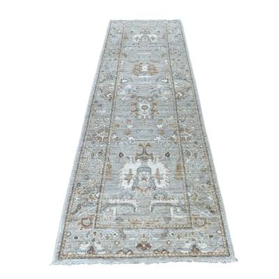 "Shahbanu Rugs Oushak Soft Velvety Wool Gray Hand Knotted Oriental Runner Rug (2'10"" x 9'8"") - 2'10"" x 9'8"""