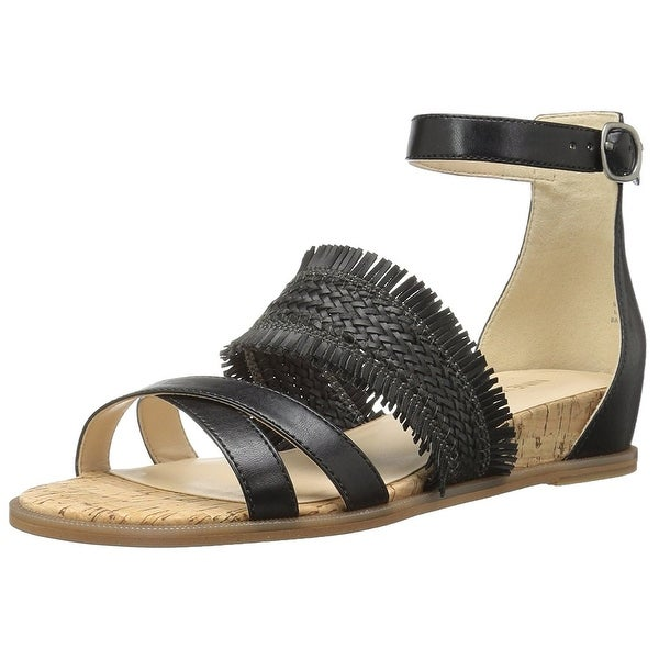 Nine West Womens Vernell Leather Open Toe Casual Ankle Strap Sandals