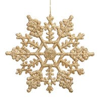 Club Pack of 12 Gold Glamour Glitter Snowflake Christmas Ornaments 6.25""