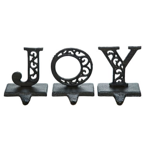 "Set of 3 Charcoal Black Christmas ""JOY"" Stocking Hangers 7"""