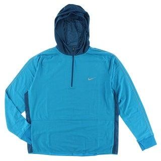 Nike Mens Dri FIT Sprint Half Zip Hoodie Light Blue - Light Blue - XxL