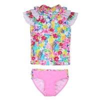 Sun Emporium Baby Girls Blue Pink Monet Floral Print Sun Shirt Bikini Set
