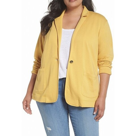 Caslon Yellow Button Front Women's Size 2X Plus Collared Jacket