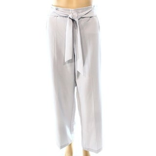 Alfani NEW Silver Gray Women's Size 8X33 Belted Wide-Leg Dress Pants