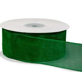 """Pack Of 1, Solid Hunter Wired Encore Sheer Ribbon 1.5"""" X 25 Yards 100% Nylon Ribbon For Extra Body & Easy Bow Making"""