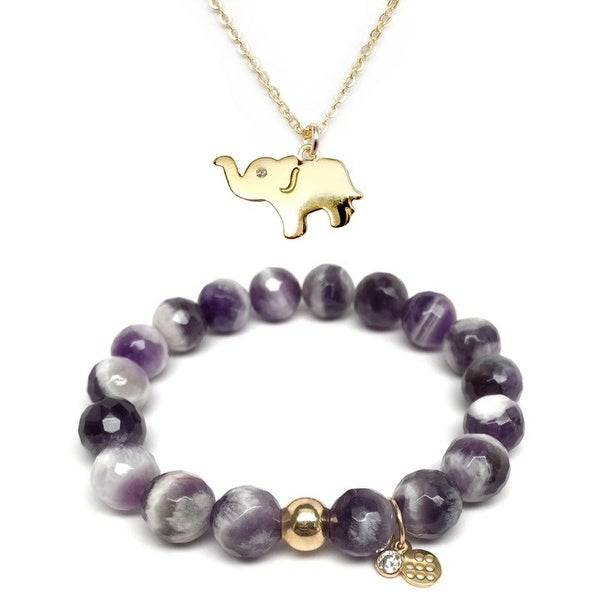 "Purple Amethyst 7"" Bracelet & CZ Elephant Gold Charm Necklace Set"