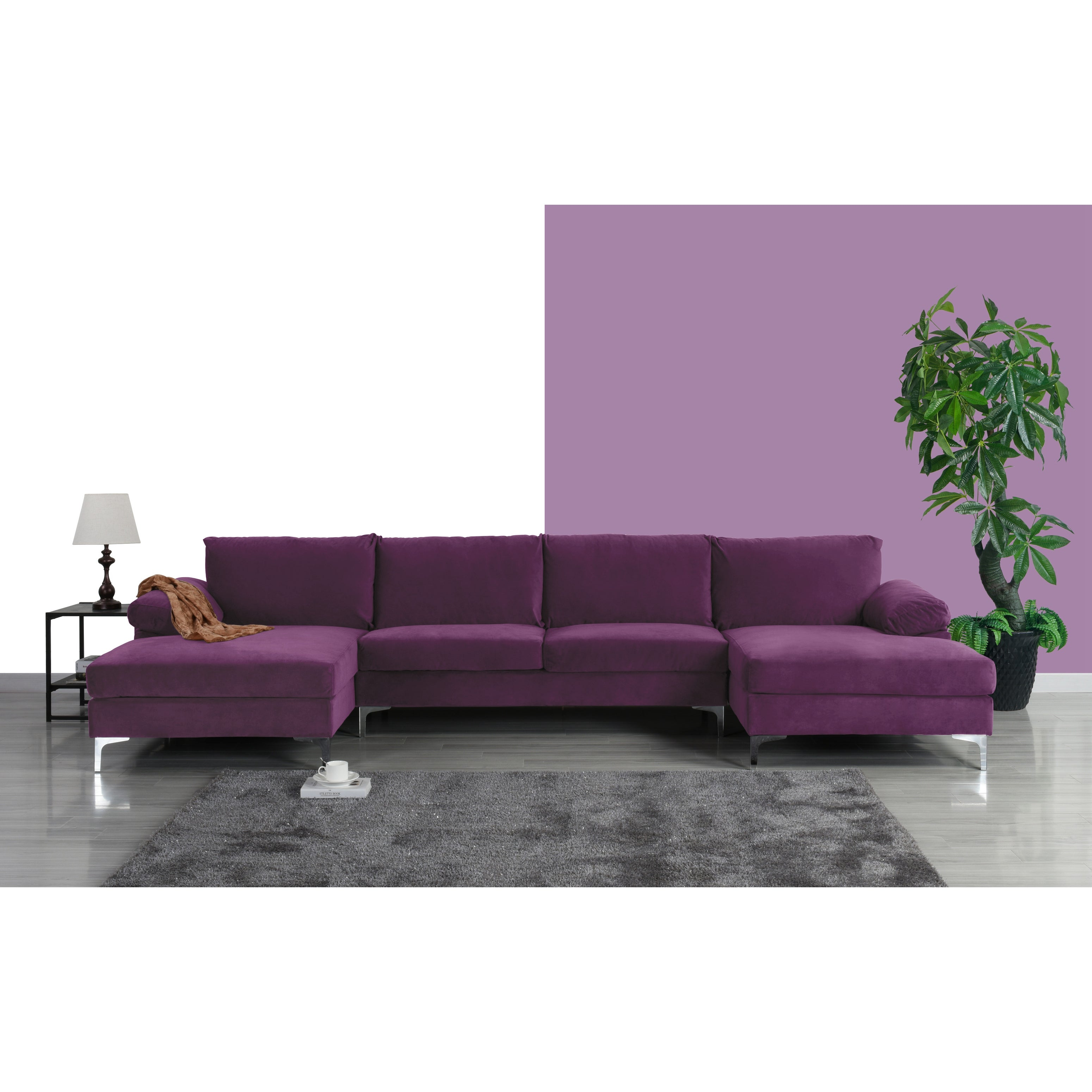 Picture of: Modern Xl Velvet Upholstery U Shaped Sectional Sofa Overstock 28156967
