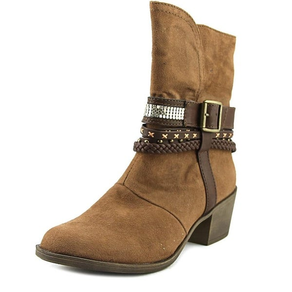 Sugar Trinket Women Round Toe Canvas Brown Mid Calf Boot