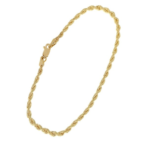 MCS Jewelry Inc 14 KARAT YELLOW GOLD DIAMOND CUT ROPE ANKLET (10 INCHES)
