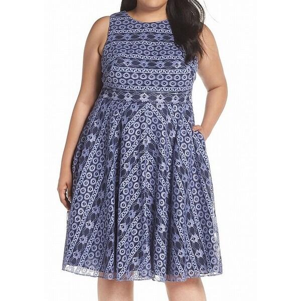 Eliza J Blue Women's Size 22W Plus Pocket Floral Lace A-Line Dress